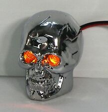 Skull Krommet Motorcycle Tag Bolts with Amber LED Eyes -  Chrome Finish - 1 pair