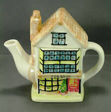 """HAND PAINTED """"TEA SHOP"""" 2 CUP CERAMIC TEA POT - MADE IN CHINA"""