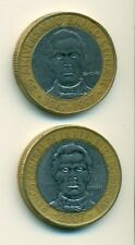 2 BI-METAL 5 PESO COINS from the DOMINICAN REPUBLIC - 1997 & 2007 (2 TYPES)