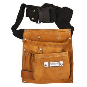 6 Pocket Adjustable Leather Tool Holder Belt  Multi-Pocket Tool & Nail Pouch New