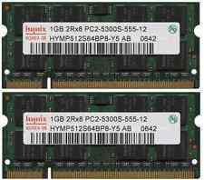 KIT RAM 2GB (2 X 1GB) DDR2 PC2-5300S 667MHz 667 PORTATILE MEMORIA  200PIN SODIMM