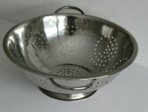"Large Stainless Steel Pedestal Base Colander Strainer with Handles 13"" Diameter"