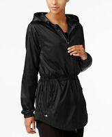 Ideology Womens Full Zip Hooded Soft Shell Rain Jacket Noir