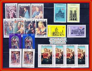DOMINICA = CHRISTMAS & RELIGION x3 SETS  MNH famous PAINTINGS, MADONNA