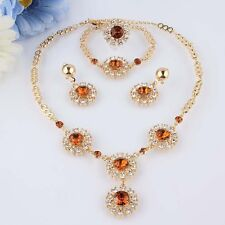 Sale Brown African Costume Jewellery Set Party Necklace Earring Ring Set