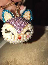 Betsey Johnson Necklace Blue Purple Fox  Sparkly  Beautiful Unique Gift Bag