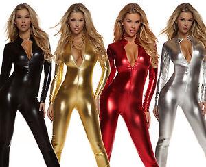 Metallic Long Sleeve Catsuit Body Suit Zip Front Mock Neck Costume Club 113505