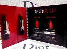 Dior DIOROUGE Rouge Lipstick Card 999 MATTE & 999 METAL 2 Shades & Mini Brush