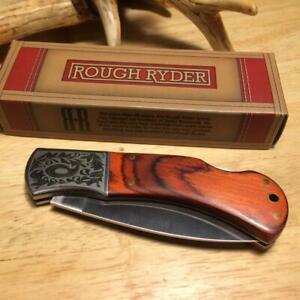 "Rough Ryder Fancy Laminated Rich Grain Wood Lockback 4"" Pocket Knife   RR182"