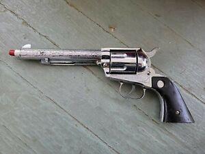 Nichols Stallion 45 MKII Chrome Diecast Toy Cap Gun Pistol