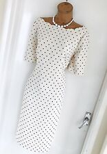 Stunning JACQUES VERT Ivory Black Spotty/Shaped Neckline Pencil Dress Uk 14