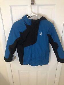 Spyder Youth Puffer Jacket Size M 10/12 Boy Black And Blue