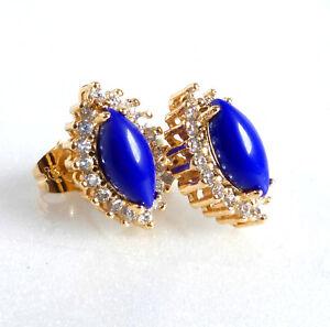 Women 18K Yellow Gold Plated Royal Blue Simulated Diamond Prime Stud Earrings UK
