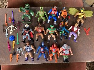 Lot of 14 Vintage He-Man Figures Lot Motu Masters of the Universe Mattel Weapons