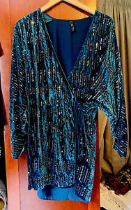 Zara Sequin Cocktail Wrap Dress. Large. VGC