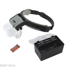 2 LED Kopflupe Kopfbandlupe Uhrmacherlupe mit Beleuchtung 8,75x Vergrößerung