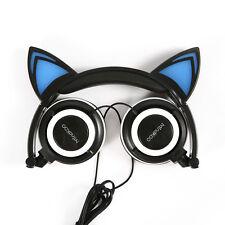 Mindkoo Foldable Earphone Cat Ear Headband 3.5mm LED Glowing Light Headset Black