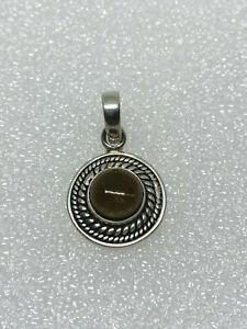 Gorgeous Sparkling Smoky Quartz Stone Pendant 925 Solid Silver #11683