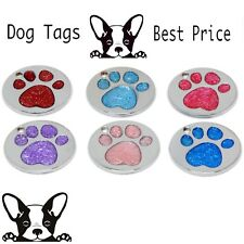 Personalised Engraved Nickel Glitter Insert Paw Print Tag Dog Cat Pet ID Tags