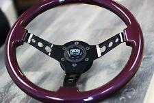 "Black Chrome Steering Wheel Purple Grip JDM INDY 350mm (14"") - 6 Hole Hub"