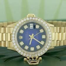 Rolex President Datejust Ladies Gold 26mm w/Blue Vignette Dial & Diamond Bezel