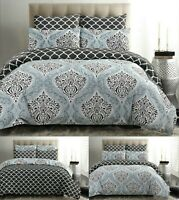 Damask Bedding Set Print Duvet Cover 100% Cotton Quilt Double Super King Size