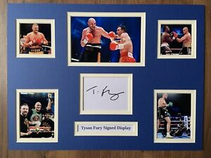 """Boxing Tyson Fury Signed 16"""" X 12"""" Double Mounted Display"""