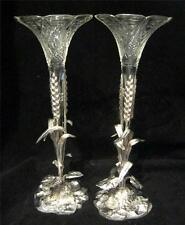 Edwardian Eperne Style Vases Silver Plate and Cut Glass