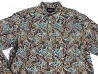 Daniel Cremieux Men's Paisley Shirt Size L Multicolor Blue Button Front LS New