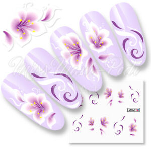 Nail Decals Water Stickers for Long Nails, Flowers Swirls Spirals Purple or Pink