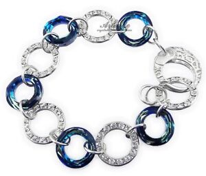 ORIGINAL CRYSTALS BRACELET *BLUE RING* AND OTHER COLOURS STERLING SILVER