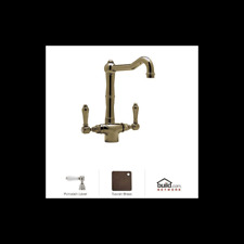 Rohl A1679LPTCB-2 Tuscan Brass Country Series Kitchen Faucet with Porcelain Leve