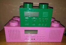 PINK LEGO Stereo CD Player with AM/FM Radio (LG11008) & Green LEGO Alarm Clock