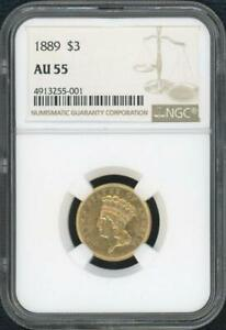 1889 $3 Piece Gold Coin (NGC AU 55)