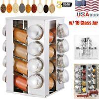 16 Glass Jar Revolving Carousel Spice Rack Stainless Kitchen Storage Organizer