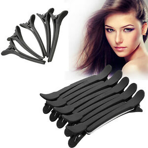 12Pcs Professional Black Matte Hairdressing Salon Sectioning Clamps Hair Clips