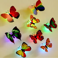 3D Glowing LED Butterfly Wall Night Light Stickers Decal Home Room Party Decor