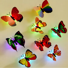 3D Glowing LED Butterfly Wall Night Light Stickers Mural Home Room Decor Decal