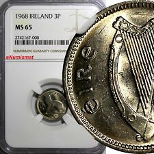 Ireland Republic Copper-Nickel 1968 3 Pence NGC MS65 LAST YEAR TYPE  KM# 12a
