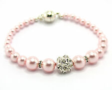 New Pale Pink Pearl Bracelet made with Swarovski Elements. Magnetic Clasp.