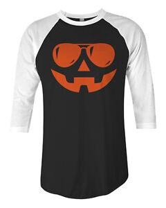 Pumpkin Face Orange Sunglasses Unisex Raglan T-Shirt Halloween