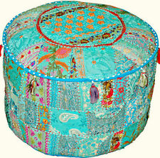 Bohemian Patchwork Pouf Ottoman, Vintage Indian Pouf In Turquoise Color, pouffe
