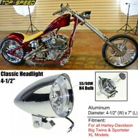 "Motorcycle Classic 4-1/2"" H4 Headlight For Harley Big Twins Sportster XL883 1200"