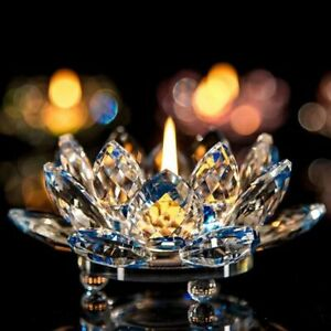 Crystal Glass Lotus Flower Candle Tea Light Holder Buddhist Candlestick Decors