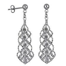 40% SALE Genuine SS Antique Design Drop Earring With Cubic Zirconia  RRP- $135