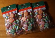 3 Christmas Glitter Lollipop Candy Ornament Garland Sets Holiday Tree Decor NEW