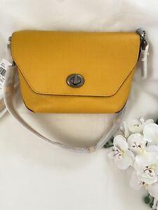 Coach C2815 Karlee Crossbody Bag Pebble Leather Ochre Yellow