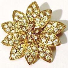 broche bijou vintage fleur incrusté de cristaux diamant couleur or * 4751