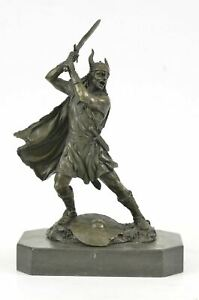 Viking Shield Warrior Norse Mythology Statue Genuine Bronze Shield Lost Wax DEAL