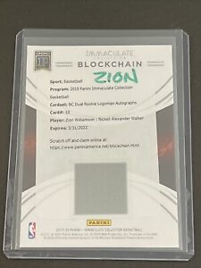 2019-20 Immaculate *Blockchain* Rookie LOGOMAN Autographs Zion Williamson 1/1!🔥
